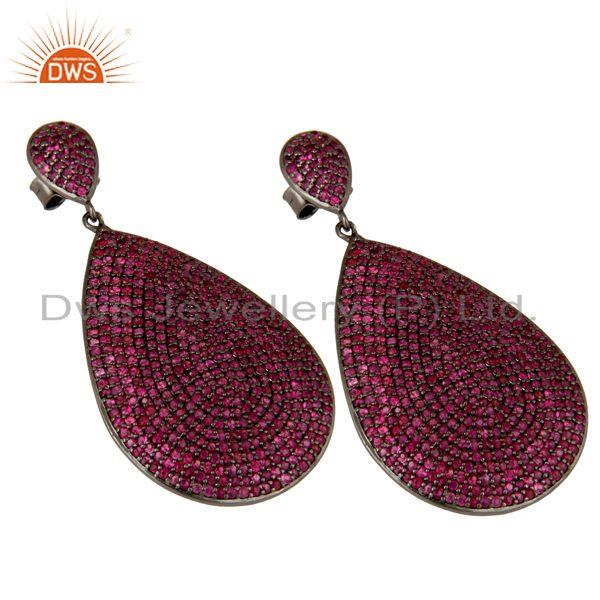 Exporter Oxidized Sterling Silver Pave Setting Natural Ruby Teardrop Earrings
