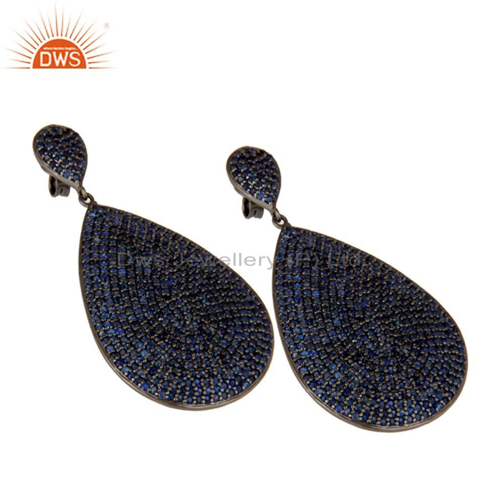 Exporter Oxidized Sterling Silver Pave Setting Blue Sapphire Teardrop Earrings