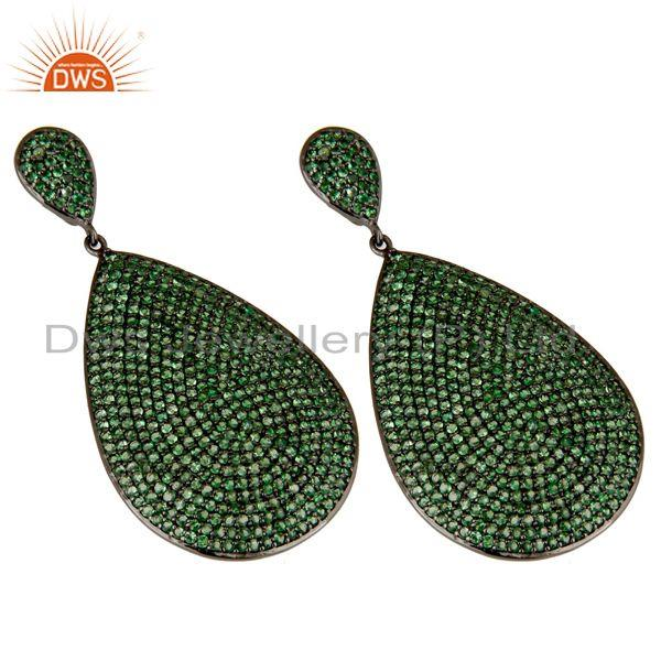 Exporter Oxidized Sterling Silver Pave Setting Tsavorite Gemstone Teardrop Earrings