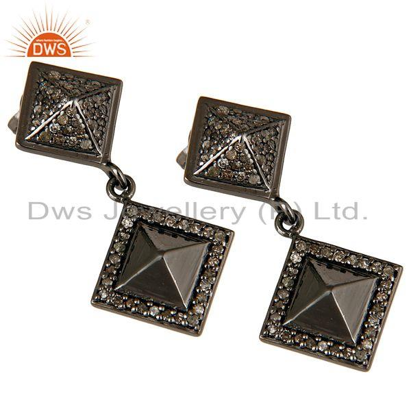 Exporter Oxidized Sterling Silver Pave Setting Diamond  Pyramid Dangle Earring