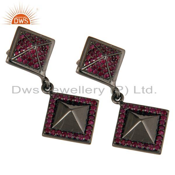 Exporter Oxidized Sterling Silver Pave Setting Ruby Birthstone Pyramid Dangle Earring