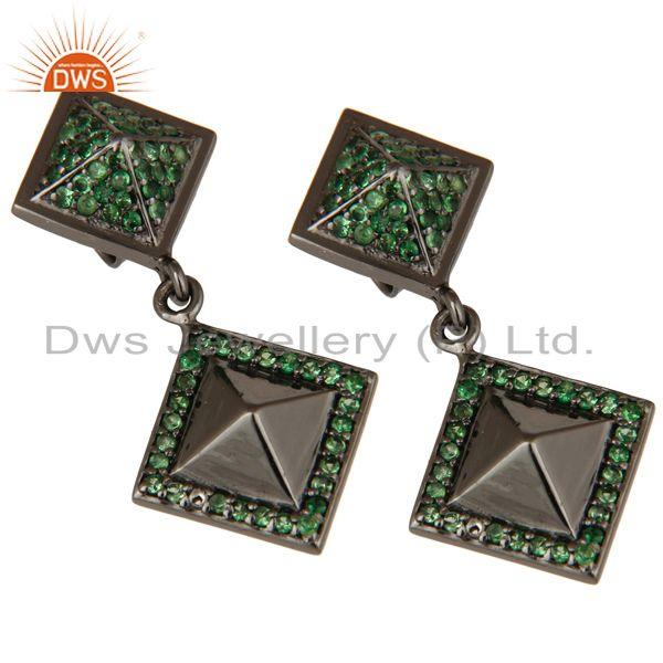 Exporter Oxidized Sterling Silver Pave Setting Tsavourite Pyramid Dangle Drop Earring