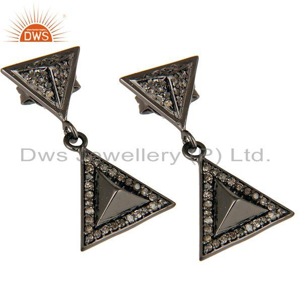 Exporter Pave Setting Diamond Oxidized Sterling Silver Pyramid Dangle Drop Earring