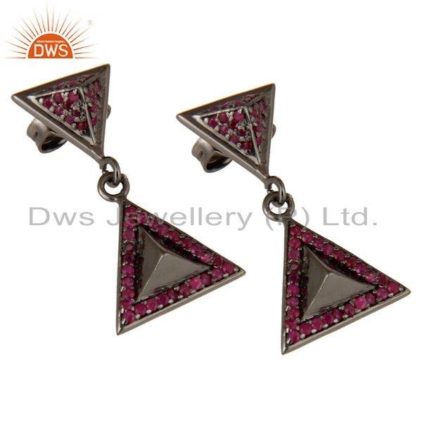 Exporter Pave Setting Ruby Oxidized Sterling Silver Pyramid Dangle Drop Earring