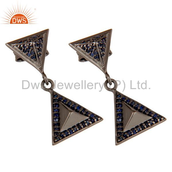Exporter Pave Setting Blue Sapphire Oxidized Sterling Silver Pyramid Dangle Drop Earring