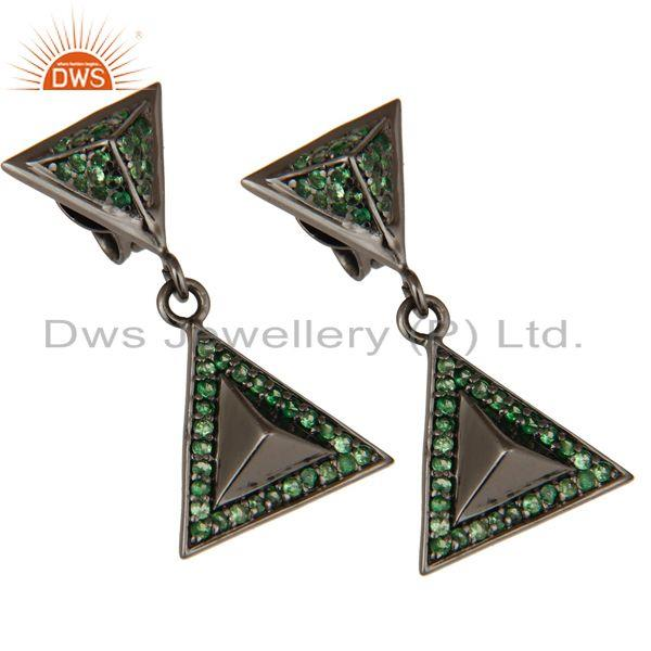 Exporter Pave Setting Tsavourite Oxidized Sterling Silver Pyramid Dangle Drop Earring