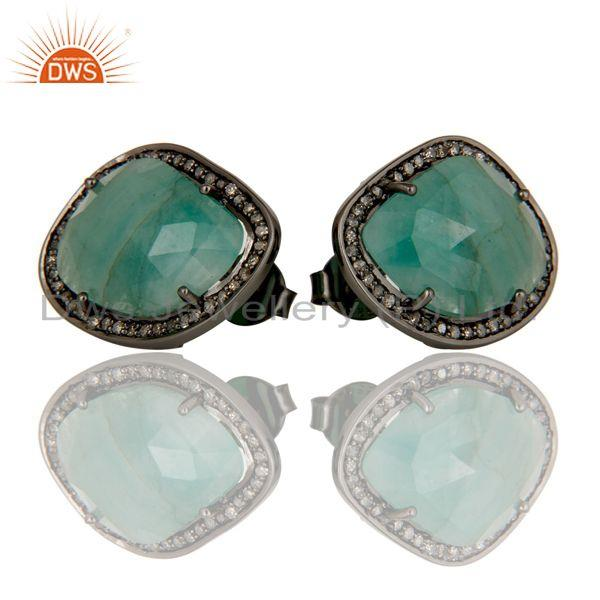 Exporter Emerald and Diamond Black Oxidized Sterling Silver Stud Earring