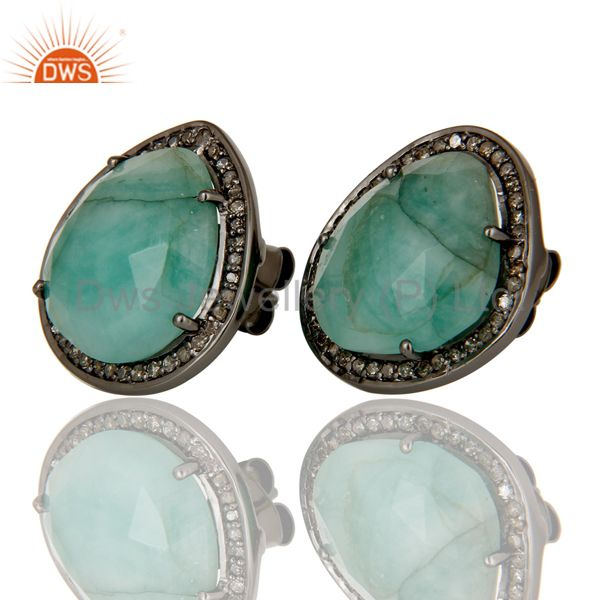 Exporter Diamond and Emerald Black Oxidized Sterling Silver Stud Earring