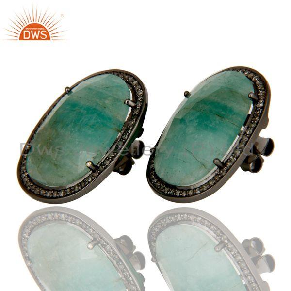 Exporter Sterling Silver Oxidized Emerald and Diamond Stud Earring