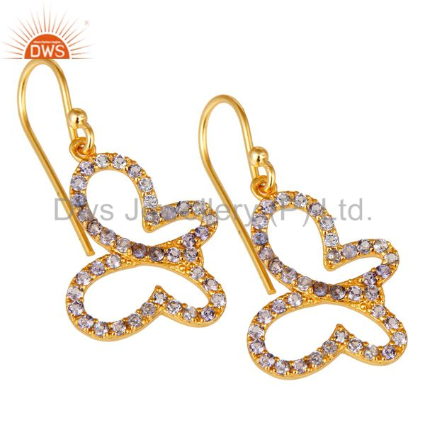 Exporter Tanzenite Stone 18K Gold Plated Sterling Silver Butterfly Earring