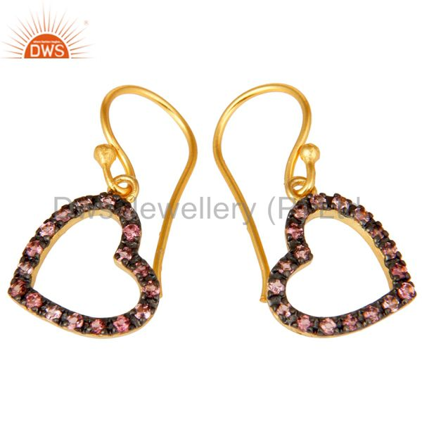 Exporter Pink Tourmaline 18K Gold Plated Sterling Silver Heart Shape Earring