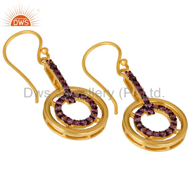 Exporter Amethyst 18K Gold Plated Sterling Silver Gemstone Drop Earring