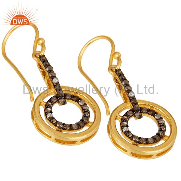 Exporter 18K Yellow Gold Plated 925 Sterling Silver Round Pave Diamond Earrings Jewelry