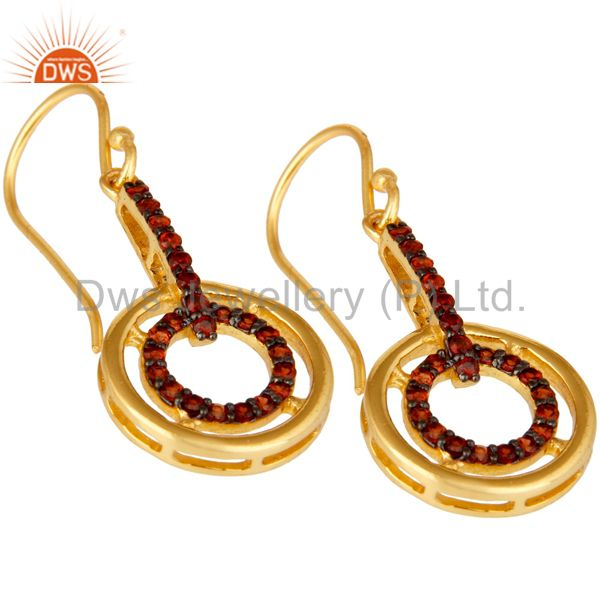 Exporter Garnet and 18K Gold Plated Sterling Silver Gemstone Drop Earring