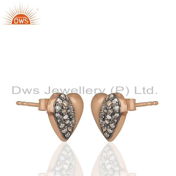 Exporter Pave Diamond Heart Design Rose Gold Plated Silver Stud Earrings