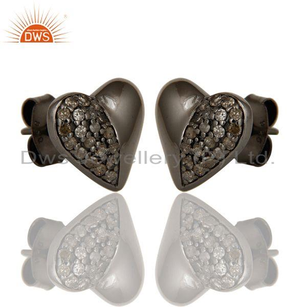 Exporter Diamond and Black Oxidized Sterling Silver Heart Shape Stud Earring