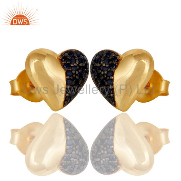 Exporter Blue Sapphire and 18K Gold Plated Sterling Silver Heart Shape Stud Earring