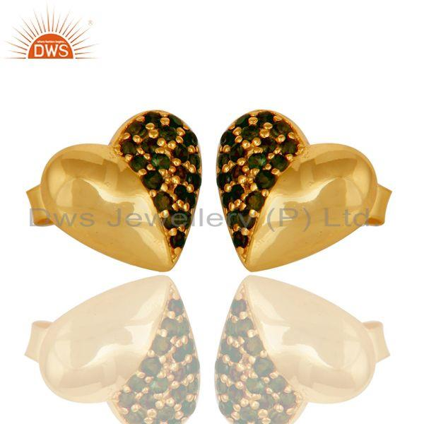 Exporter Green Tourmaline and 18K Gold Plated Sterling Silver Heart Shape Stud Earring
