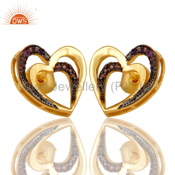 Exporter Amethyst and 18K Gold Plated Sterling Silver Heart Shape Ear Stud