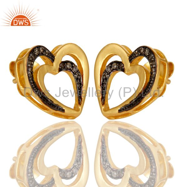Exporter 18K Gold Plated 925 Sterling Silver Heart Design Pave Diamond Earrings Jewelry