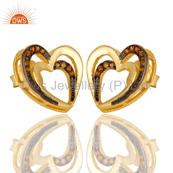 Exporter Spessartite and 18K Gold Plated Sterling Silver Heart Shape Ear Stud