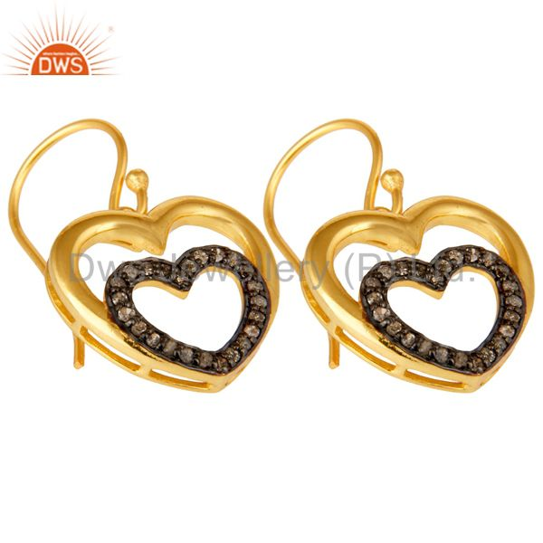 Exporter Diamond and 18K Gold Plated Sterling Silver Heart Design Ear Stud