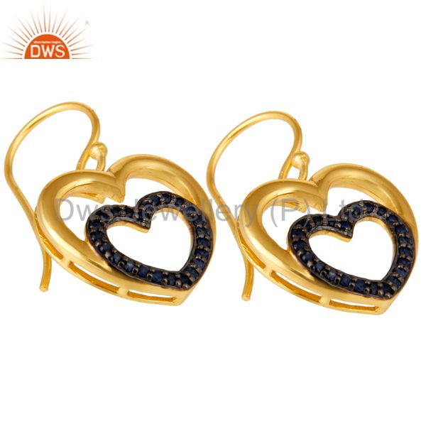 Exporter Blue Sapphire and 18K Gold Plated Sterling Silver Heart Design Ear Stud