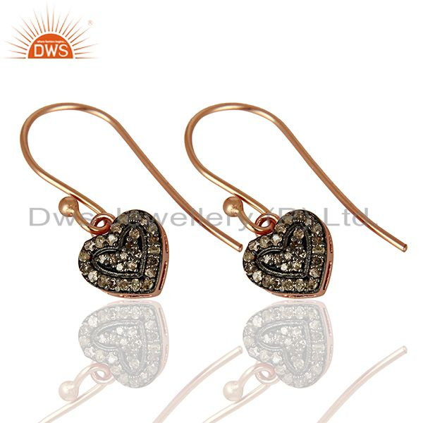 Exporter Heart Shape Rose Gold Plated Silver Pave Diamond Earrings Manufacturer