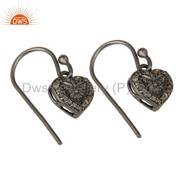 Exporter Diamond and Oxidized Sterling Silver Heart Designer Earring