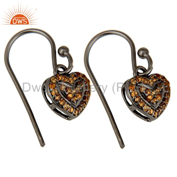 Exporter Spessartite and Oxidized Sterling Silver Heart Design Earring