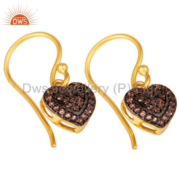 Exporter Pink Tourmaline and 18K Gold Plated Sterling Silver Heart Designer Ear Stud