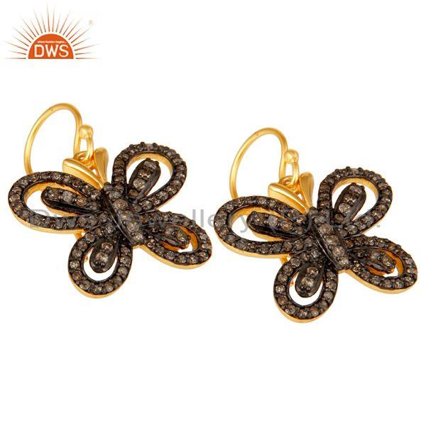 Exporter Diamond and 18K Gold Plated Sterling Silver Butterfly Drop Earring