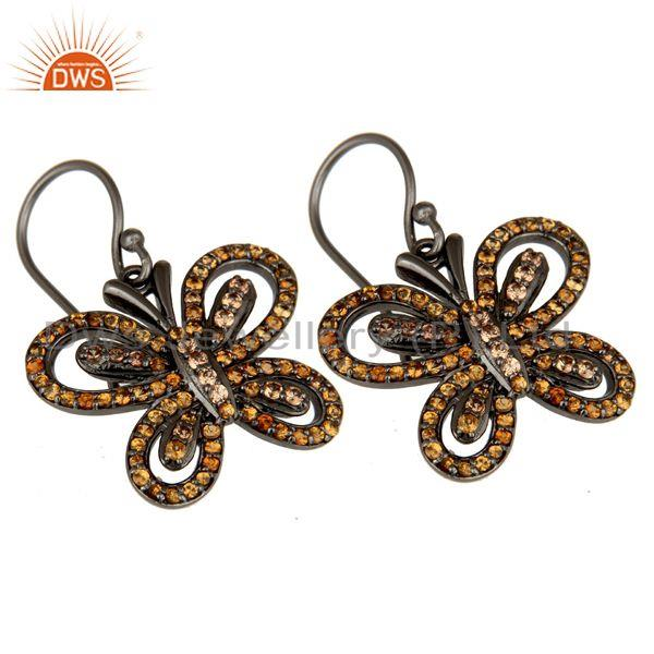 Exporter Spessartite and Oxidized Sterling Silver Butterfly Drop Earring