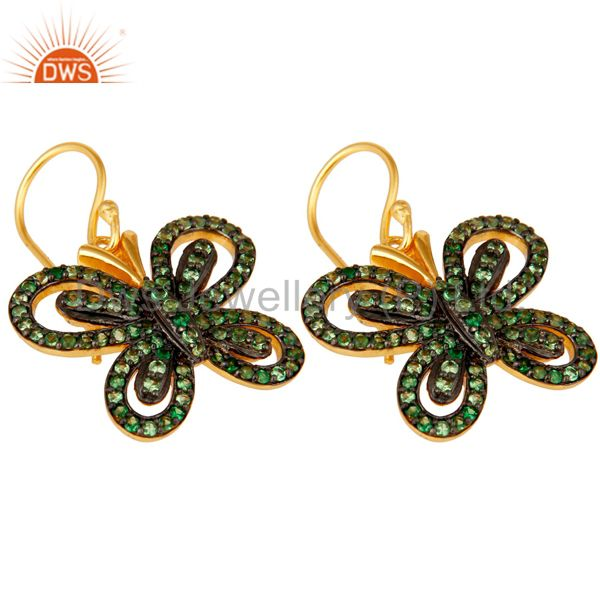 Exporter Tsavourite and 18K Gold Plated Sterling Silver Butterfly Drop Earring