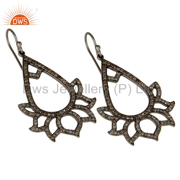Exporter 925 Sterling Silver Oxidized Handmade Pave Diamond Lotus Design Earrings Jewelry