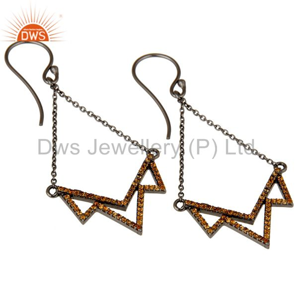 Exporter Spessartite Cut Stone Lotus Dangler Earring Oxidized Sterling Silver Earring