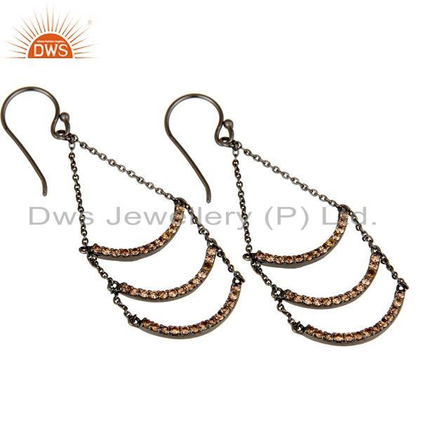 Exporter Spessartite Lotus Dangler Earring Oxidized Sterling Silver Earring