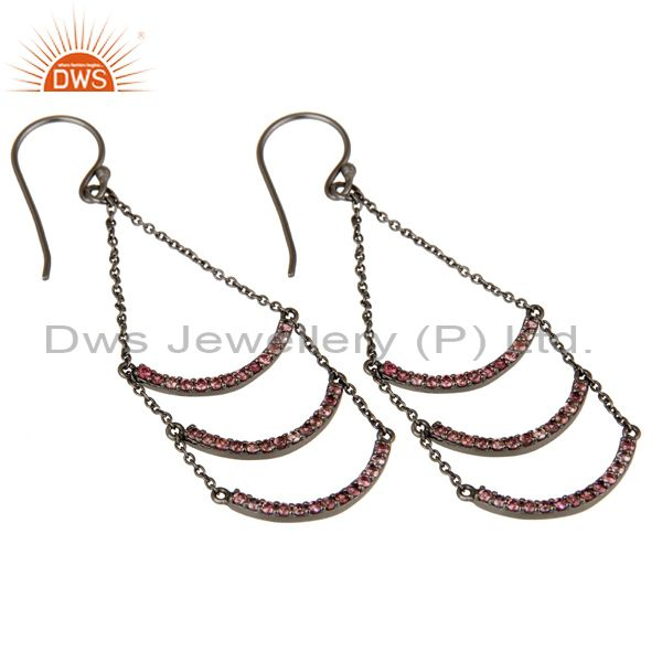 Exporter Pink Tourmaline Lotus Dangler Earring Oxidized 925 Sterling Silver Earring