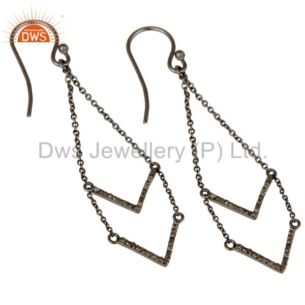 Exporter Black Oxidized 925 Sterling Silver Pave Diamond Filigree Woman Earring Jewelry