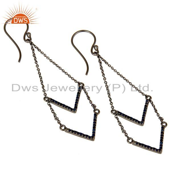 Exporter Blue Sapphire and Black Oxidized Sterling Silver V shae Drop Dangler Earring