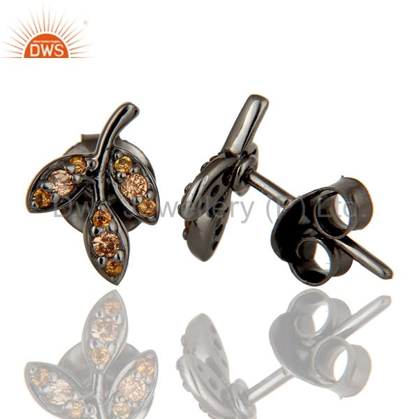 Exporter Spessartite and Black Oxidized Sterling Silver Leaf Style Stud Earring