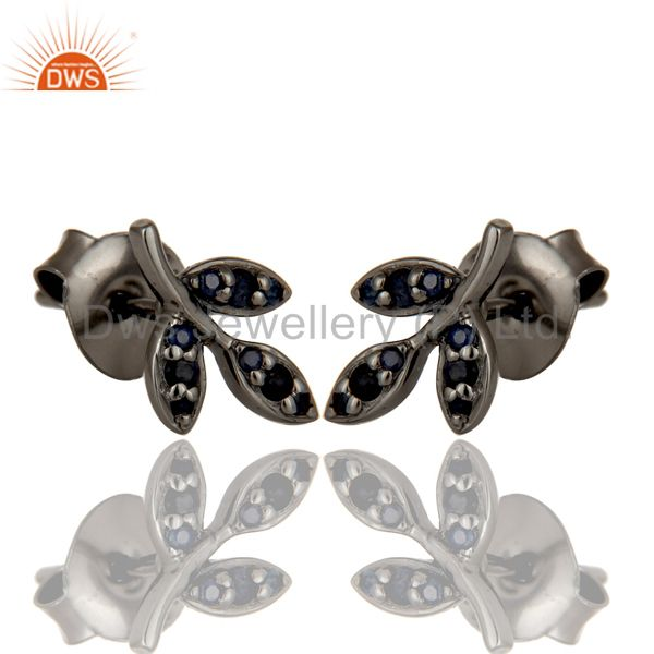 Exporter Blue Sapphire and Black Oxidized Sterling Silver Leaf Style Stud Earring