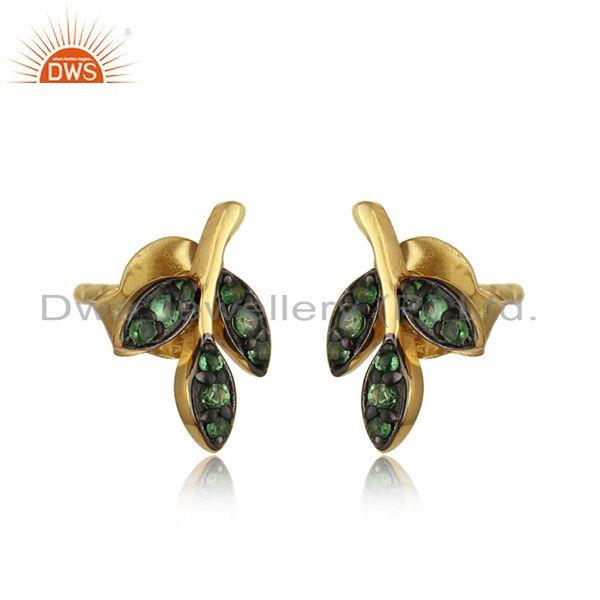 Minimal leaf stud in yellow gold on silver with pave tsavorite