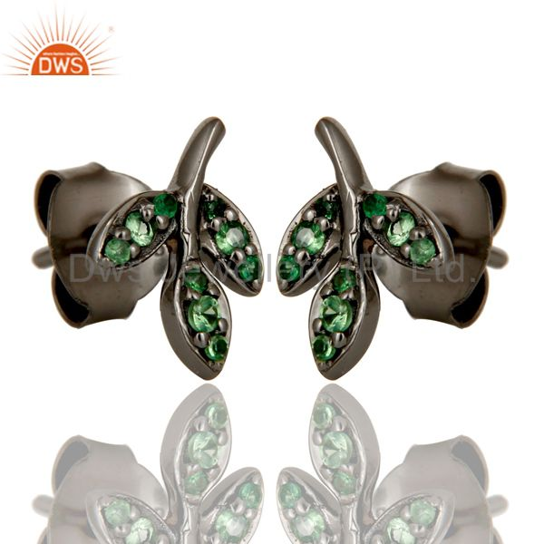 Exporter Tsavourite and Black Oxidized Sterling Silver Leaf Style Stud Earring
