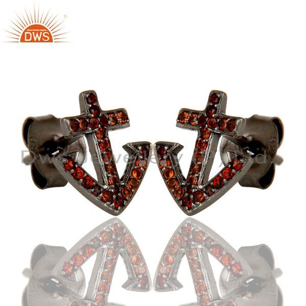 Exporter Garnet and Sterling Silver Black Oxidized Cross Style Stud Earring