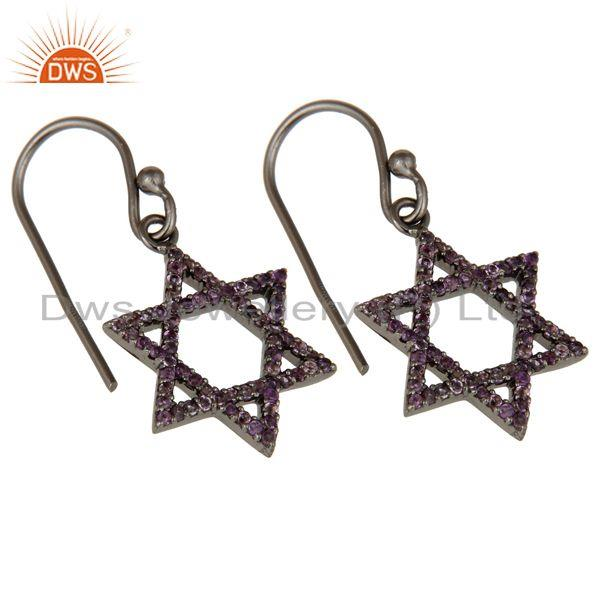 Exporter Amethyst with Sterling Silver Black Oxidized Star Style Stud Earring