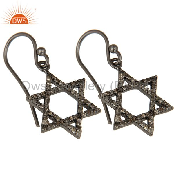 Exporter Diamond with Sterling Silver Black Oxidized Star Style Stud Earring
