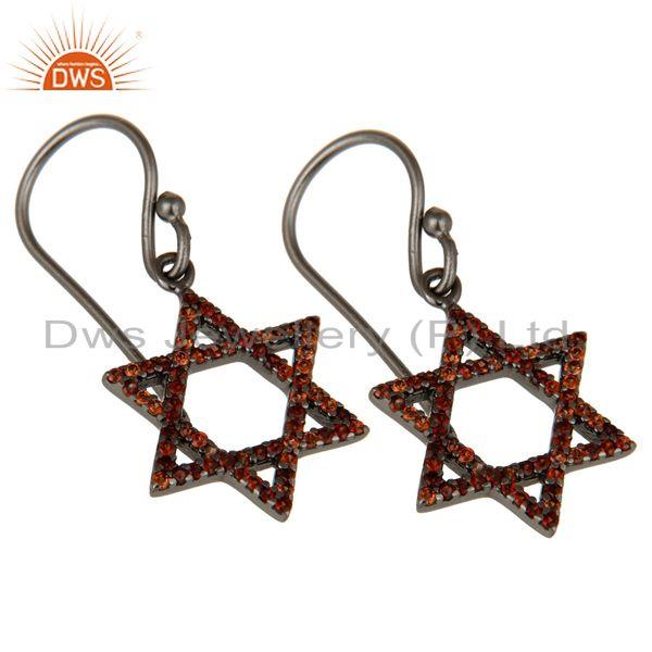 Exporter Garnet with Sterling Silver Black Oxidized Star Style Stud Earring