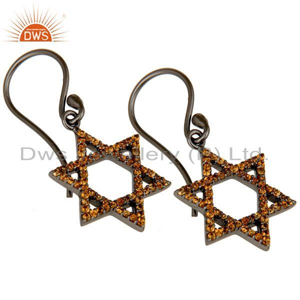 Exporter Spessartite with Sterling Silver Black Oxidized Star Style Drops Earring