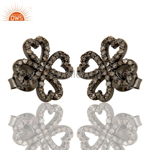 Exporter Diamond and Oxidized Sterling Silver Heart Flower Design Stud Earring